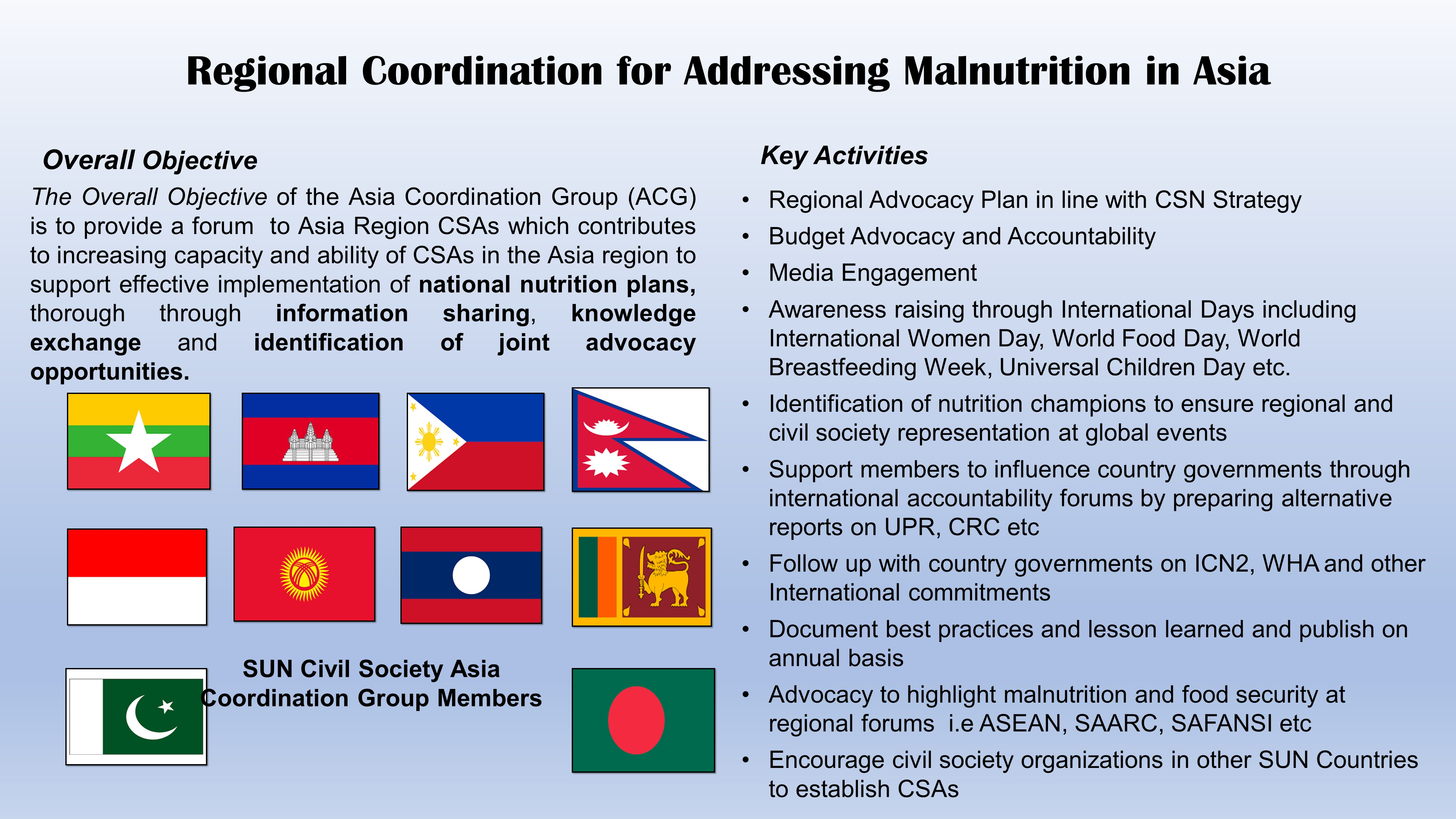 Regional Coordination for Addressing Malnutrition in Asia