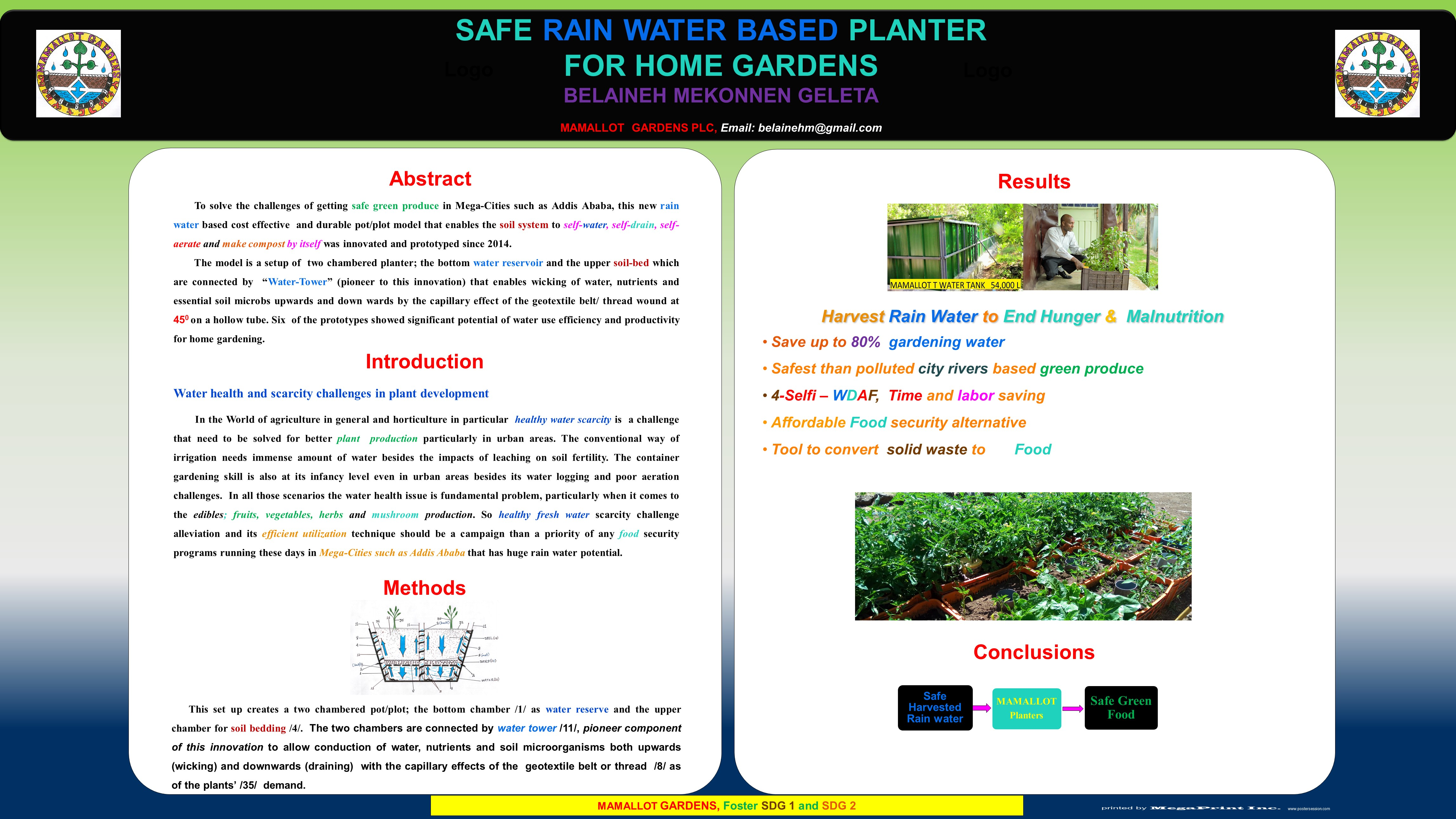 Safe Rainwater Based Planter for Home Gardens