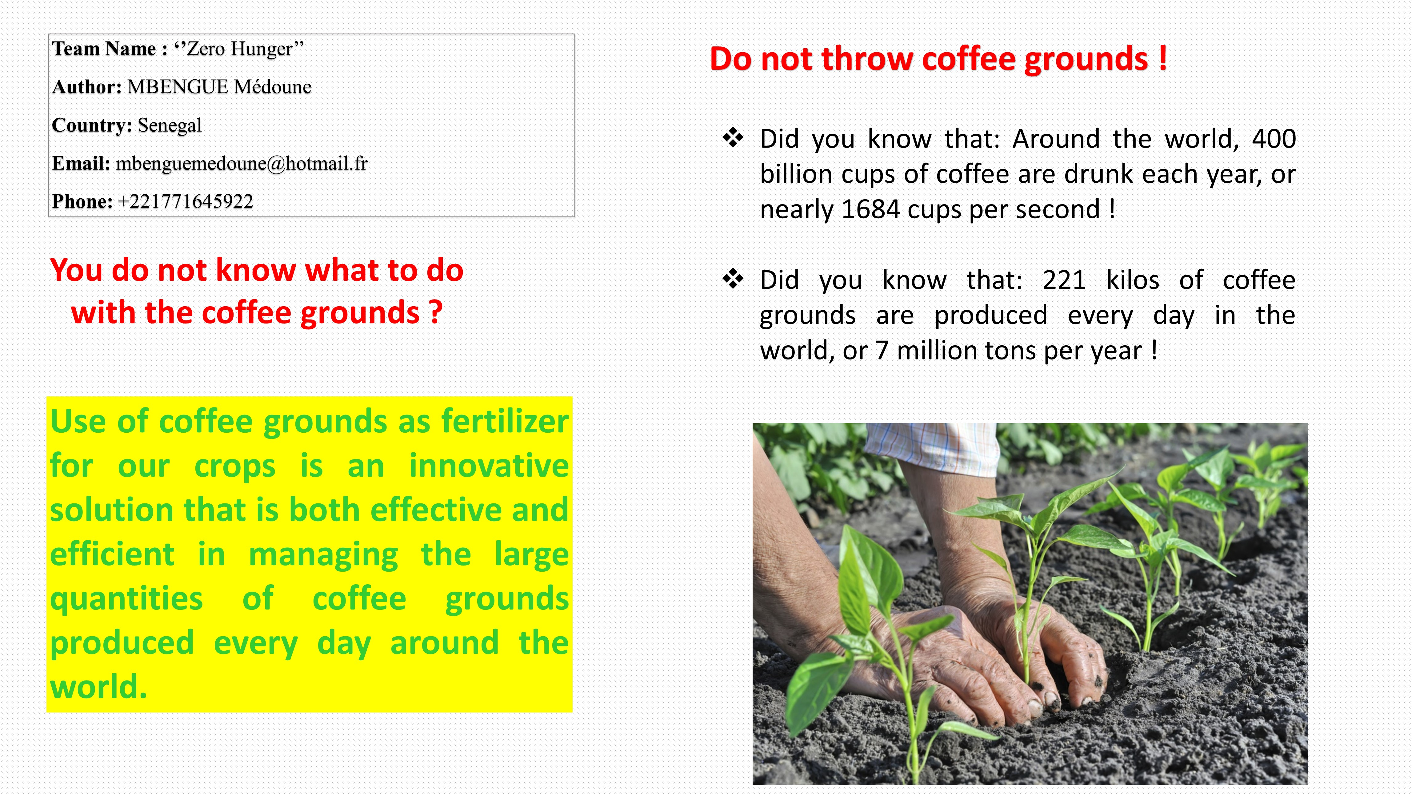 Use of Coffee Grounds as Fertilizer