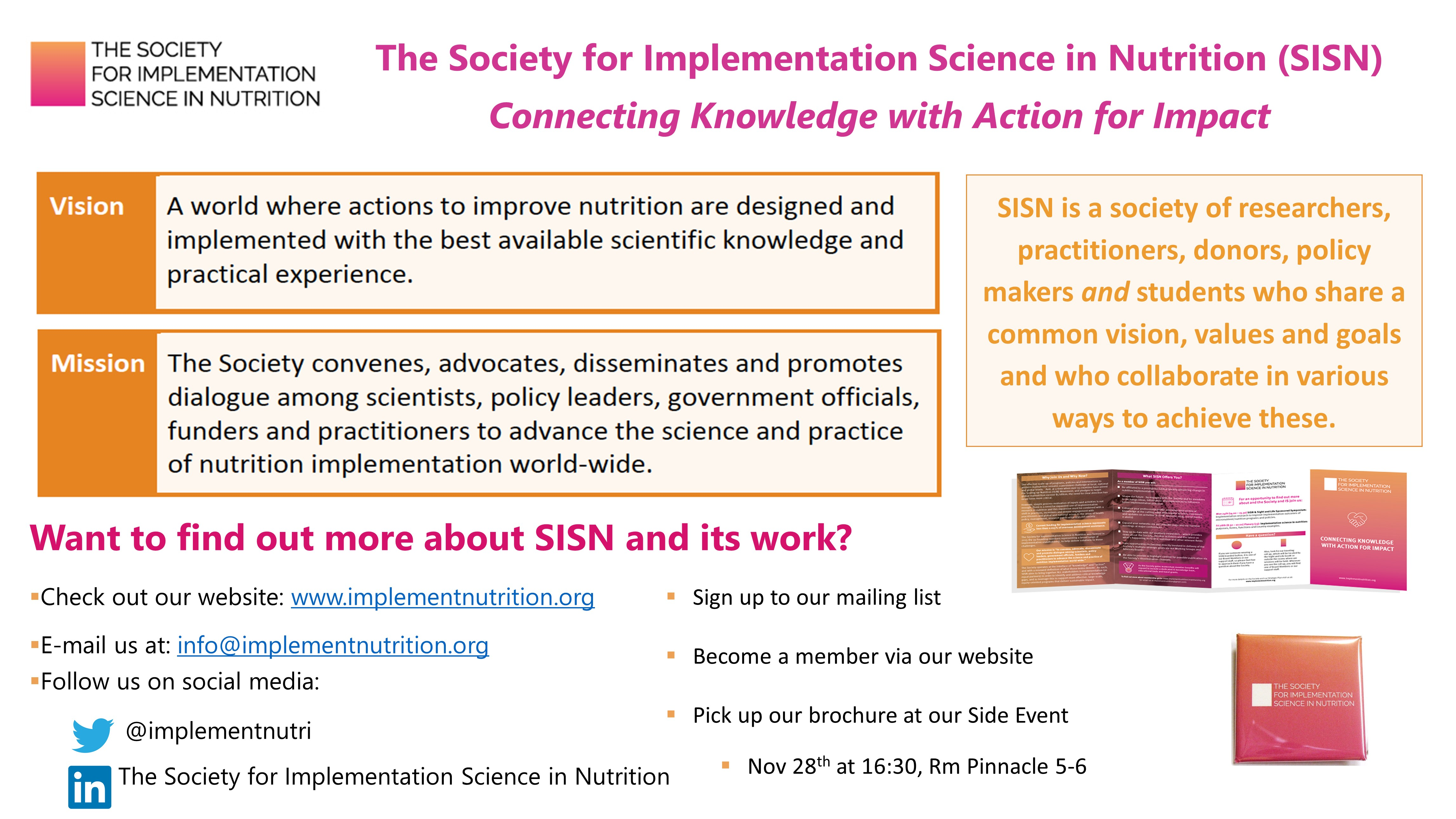 The Society for Implementation Science in Nutrition (SISN): Connecting Knowledge with Action for Impact