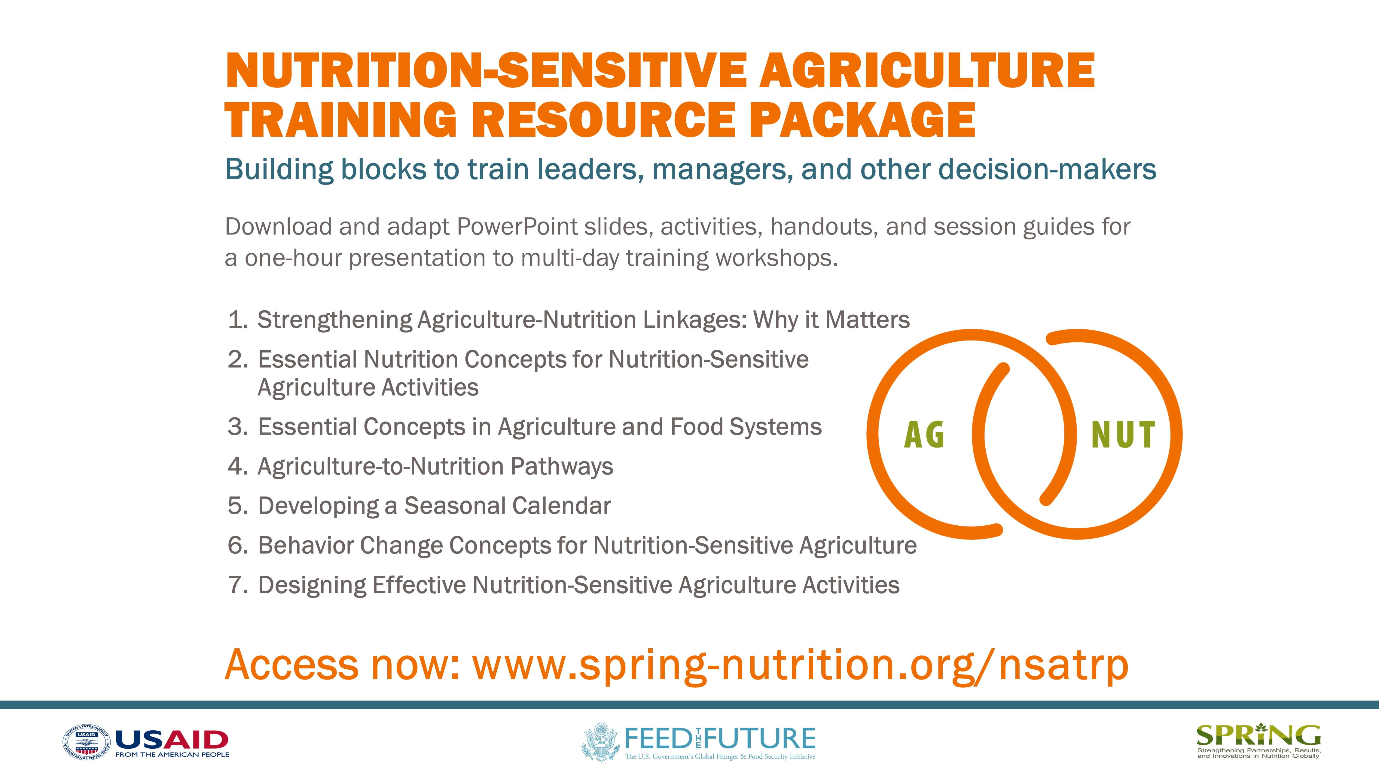 Nutrition-Sensitive Agriculture Training Resource Package