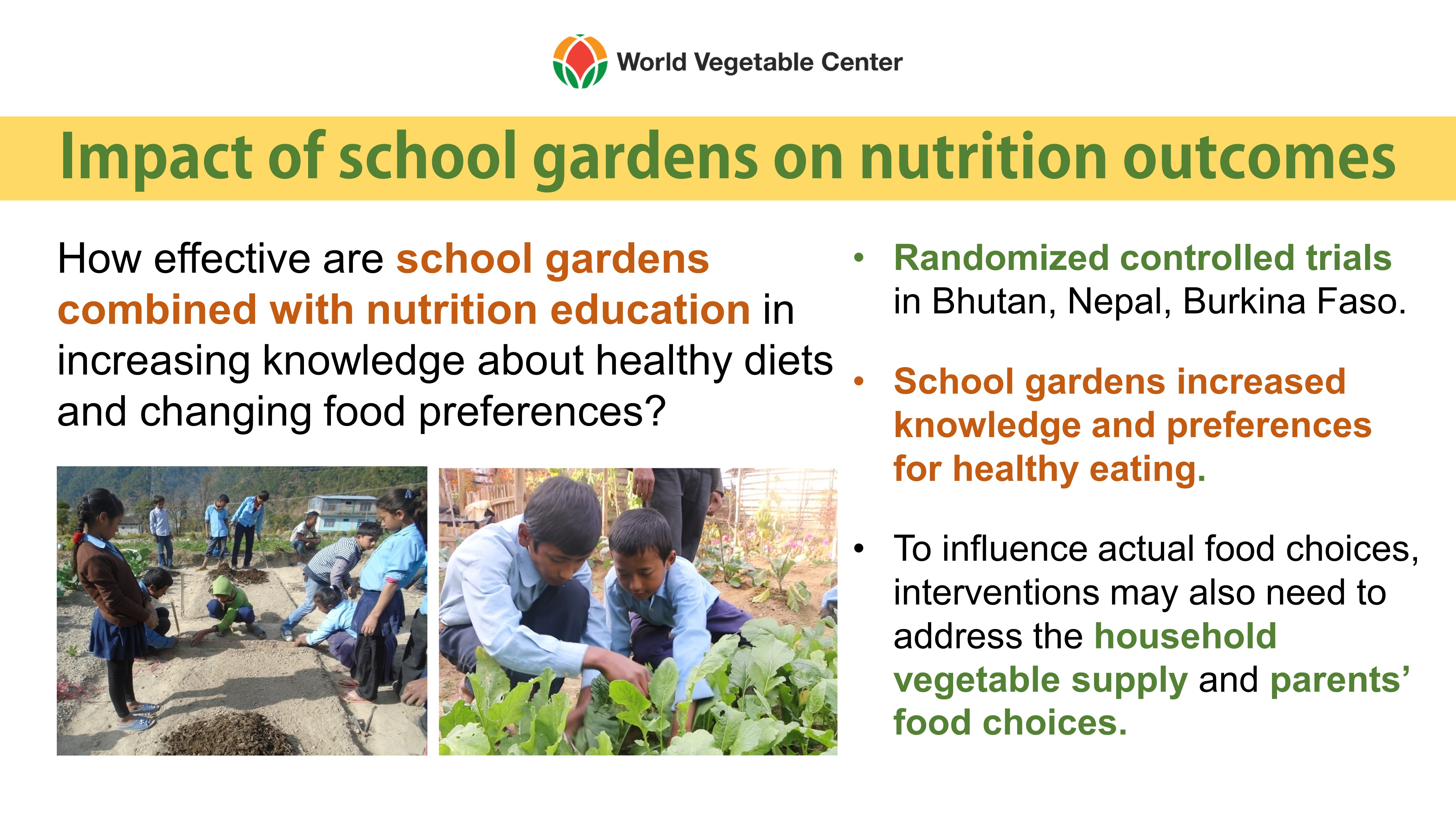 Impact of School Gardens on Nutrition Outcomes