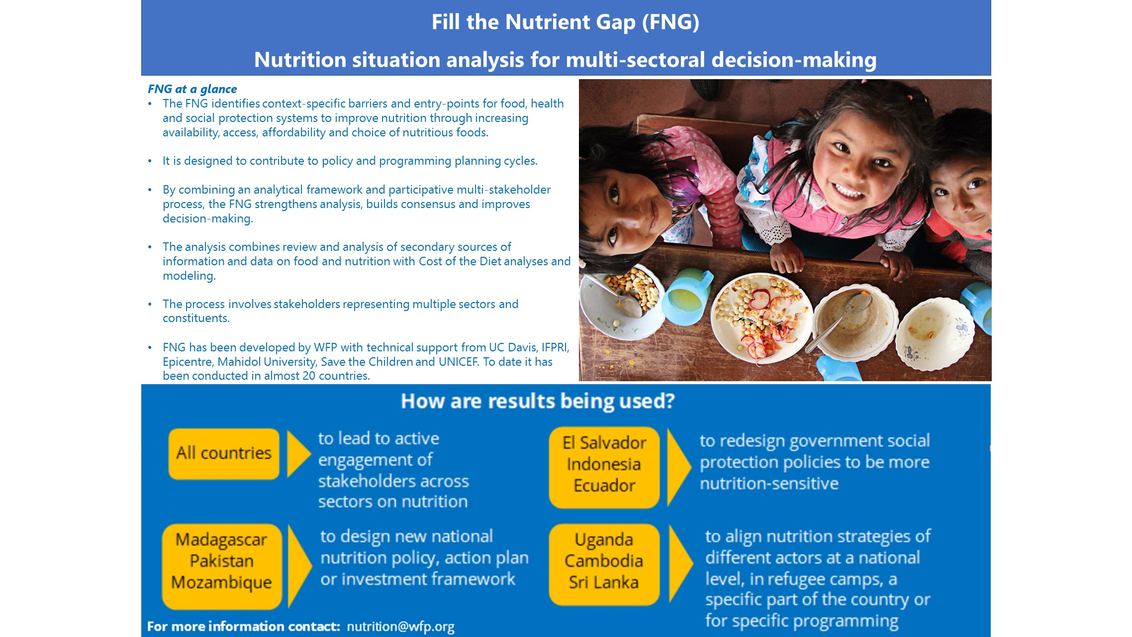 Fill the Nutrient Gap (FNG): Nutrition situation analysis for multi-sectoral decision-making